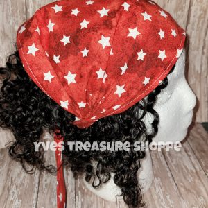 Red with White Stars Headscarf