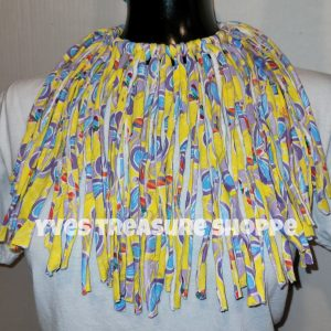 Yellow and Blue Fringe Necklace